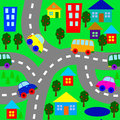 Background with cars houses and trees Stock Photo