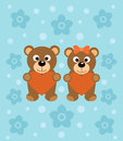 Background with cartoon bears funny Stock Photo