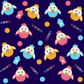 Background with cartoon birds seamless Royalty Free Stock Images