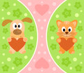 Background with cartoon cat and dog funny Royalty Free Stock Photo