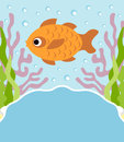Background cartoon with fish card Royalty Free Stock Image