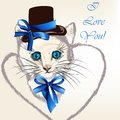 Background with cat in hat with bows and stylized heart cute valentine greeting card little kitty Royalty Free Stock Photography