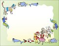 Background with cat mice and fish vector illustration Royalty Free Stock Photography