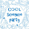 Background with chemical glassware for cool science party poster Royalty Free Stock Photo
