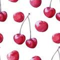 Background cherries. seamless pattern. Royalty Free Stock Photo