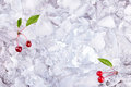 Background with cherry on ice cubes, top view Royalty Free Stock Photo