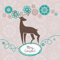 Background with Christmas reindeer Stock Photo