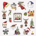 Background christmas retro elements illustrations ornaments red Stock Image