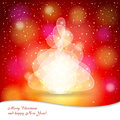Background with christmas tree bright red stylized and place for congratulatory text Royalty Free Stock Image