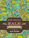 Background with christmas trees and label with sal sale offer vector illustration Royalty Free Stock Images