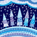 Background with Christmas trees and motifs under night sky Royalty Free Stock Photo