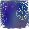 Background with a clock in blue color Stock Photos