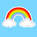 Background with clouds and rainbow Stock Photography