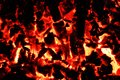 Background with coals flame and fire at night time Royalty Free Stock Images