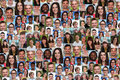 Background collage large group of multiracial young smiling peop Royalty Free Stock Photo