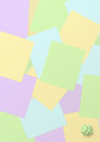 Background with colored copybook sheets checkered and crumpled sheet on the bottom right Stock Images