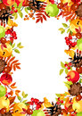 Background with colorful autumn leaves, apples and cones. Vector illustration. Royalty Free Stock Photo