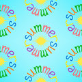 Background with colorful circle word Summer and yellow sun Royalty Free Stock Photo