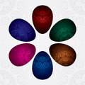 Background with colorful decorated easter eggs vector illustration Royalty Free Stock Images