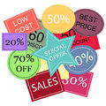Background with colorful discount tags over white. Stock Photography