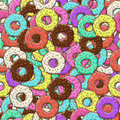 Background of colorful donuts. Lots