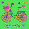 Background with colorful eco bicycle and text enjoy healthy life Stock Photos