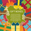 Background with a colorful gift boxes.