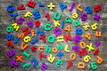 Background from colorful  letters and numbers Royalty Free Stock Photo