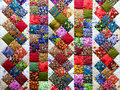 Background of colorful patchwork fabrics Royalty Free Stock Photo