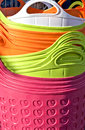 Background of colorful plastic baskets Royalty Free Stock Photo