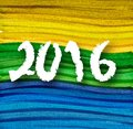Background colors of the Brazilian flag with inscription 2016 Royalty Free Stock Photo