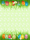 Background  with coloured eggs in a grass Stock Photos