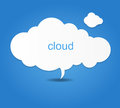 Background composed of white paper clouds over blue. vector illustration. Royalty Free Stock Photo