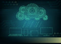 Background computer cloud with rain of numbers