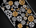 Background consisting of bright gears color golden and silver