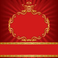 Background with crown red royal golden and ornaments Stock Photos