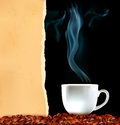 Background with cup of coffee and old ripped paper Royalty Free Stock Image