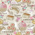 Background with cupcake, croissant, cake and bonbon
