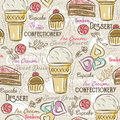 Background with cupcake, ice cream, cake and cookie, vector