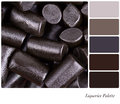 A background of cut pieces of liquorice in a colour palette with complimentary colour swatches Stock Images