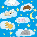Background with cute animals sleeping Royalty Free Stock Photos