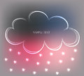 Background with cute hand drawn cloud in the sky and rain of little hearts, vector illustration Royalty Free Stock Photo