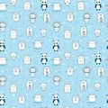 Background for cute little boys. Hand drawn seamless pattern for children with funny animals. Doodle children drawing background. Royalty Free Stock Photo