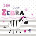 Background with cute zebra with floral elements and lettering fo Royalty Free Stock Photo