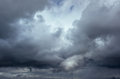 Background of dark clouds before a thunder-storm. Dramatic sky Royalty Free Stock Photo