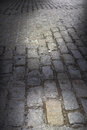 Background Dark Cobblestone Street Royalty Free Stock Images