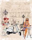 Background decorated with girls drinking coffee the italian sights fashion a motorbike a cup of Royalty Free Stock Images