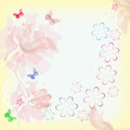 Background with delicate flowers and butterflies Stock Images