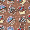 Background with delicious cupcakes vector Royalty Free Stock Photography