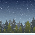 A background depicting a snowy evergreen forest horizontally repeatable Stock Photography